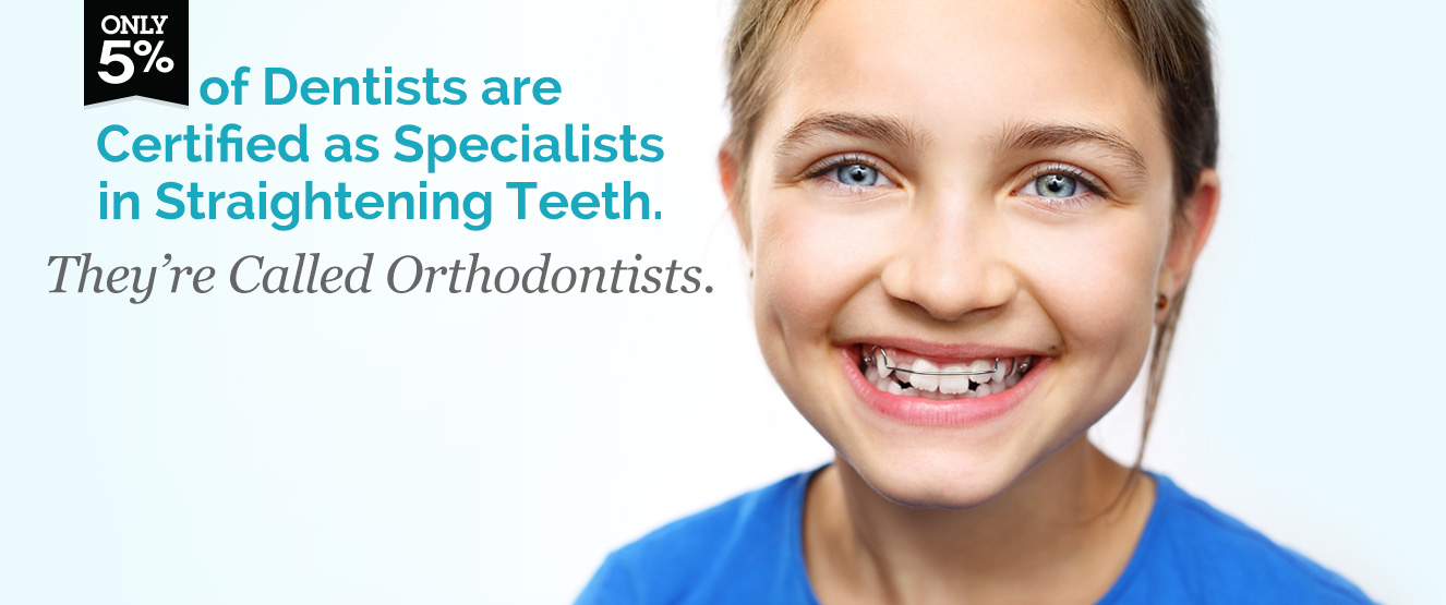 Only 5% of dentists are certified as specialists in straightening teeth. They're called Orthodontists.